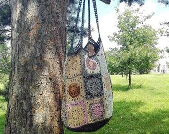 Summer purse, Reusable bag, Beach bag, Knitted bag, Boho shoulder bag, Crochet tote bag, Shoulder purse, Crochet bag, Upcycled bag, Tote bag