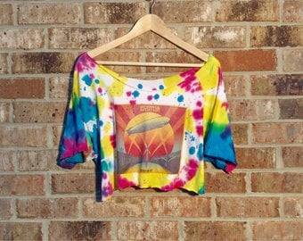 Led Zepplin Crop top Shirt Tie Dye Vintage