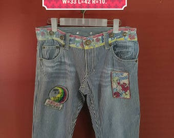 Vintage Hyper Beach Jean Hawaiian Pant Stripes Pants  Size 40 Hawaiian Pants Rasta Beah Hip Hop Pop Art Issey Miyake Pants