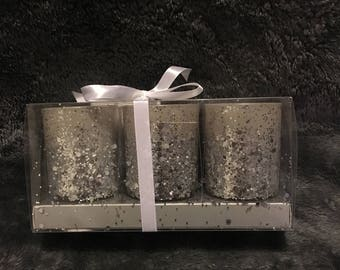 Silver Glitter Candle Pots - Pack of Three - Sparkly Candles - Tea Lights - Aromatherapy