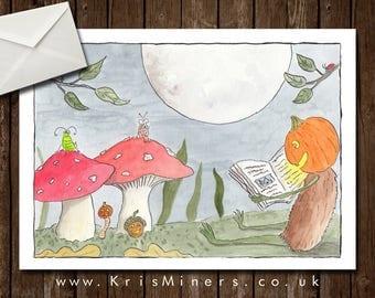 Whimsical Pumpkin Man Halloween Greetings Card - Spooky Tales