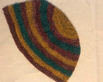 Natural HEMP Tam Cufi Beanie hand crochet Stripes