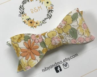 Vintage Floral Bow, Yellow Floral, Classic Bow, Baby Headband, Toddler Headband, Bow Clips