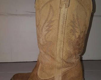 Size 9 Womens Tan Suede Leather Tall Heeled Cowboy/Cowgirl Boots Miss Capezio