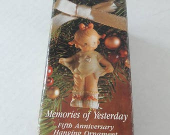 Mommy I Teared It! / Enesco Memories of Yesterday Porcelain Ornament / Fifth Anniversary Limited Edition / 527041 / Girl with Torn Dress