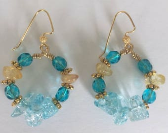 Blue and Yellow Stone and Beaded Hoop Earrings