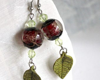 Earrings green leaves and red ball