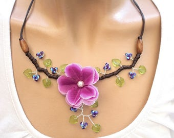 Floral necklace purple and green leaves