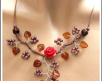 Branch necklace brown Topaz and Red