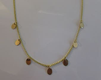 Gold Disc Necklace, Dangle Disc Necklace, Layering Necklace, Gold Coin, Gift for Her