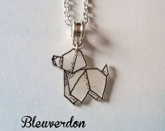 Necklace effect origami dog
