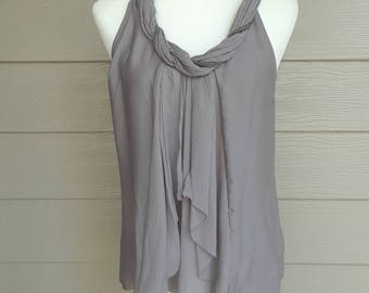 Grey Chiffon Sleeveless Blouse