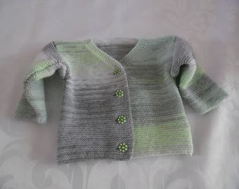 Hand knitted wool baby Cardigan. Size 6 months