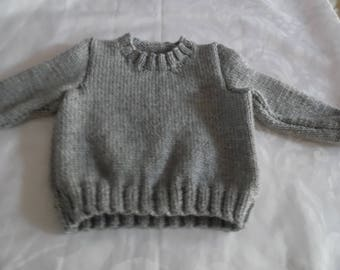 Clear chunky grey wool baby sweater size 12 months