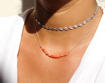 """""""Set of 2 necklaces"""" natural coral orange-red, the sterling silver chain necklace 925"""