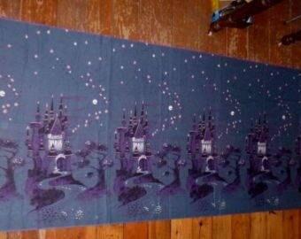 "50's Fantasyland Sleeping Beauty Fairy Tale Castle Novelty Fabric 101"" x 36"""
