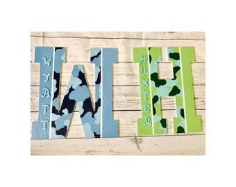 Personalized handpainted camo wooden letter