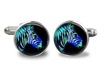 Zebra cufflinks woodland cufflinks animal cufflinks zebra gift mens cufflinks glass cufflinks silver cufflinks mens cuff links