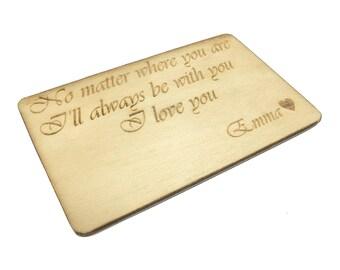 Wallet insert card, Inset gard, Anniversary gift, Wooden wallet insert card, Personalized wallet card, custom wallet insert