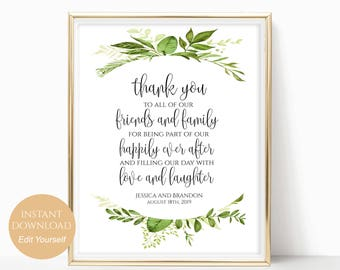 Personalized Thank You Sign Wedding Thank You Notes Printable Thank You Place Setting Table Decor Instant Download 8x10, 5x7, 4x6 Greenery