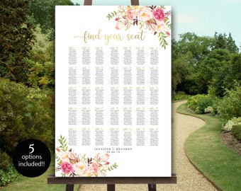 Large Seating Chart Template 5 Sizes up to 350 Editable Wedding Table Seating Chart Poster Seating Plan Find Your Table Wedding Seating Sign