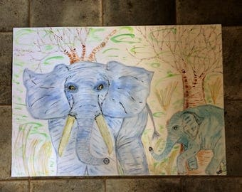 Original Watercolour of Mother and Baby Elephant named BIG Blue and little Blue, a mother's love