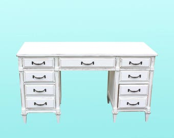 Mid-Century 7-Drawers White Desk, French Provincial, Chalk Finish
