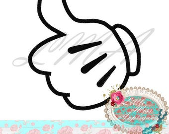 Emoji Mister Mouse Hand Mickey Applique Design Machine Embroidery Digital Download Design