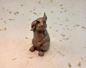 "Bronze Rabbit Sculpture,rabbit statue,bunny,hare,miniatures,wildlife bronze,rabbit gifts,animal,pets,Easter Bunny,""Bad Hare Day"",David Smus"