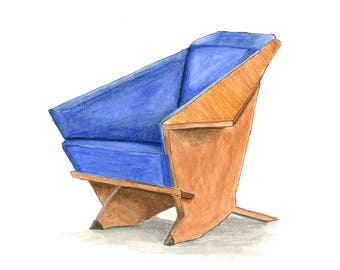 Origami Chair Watercolor