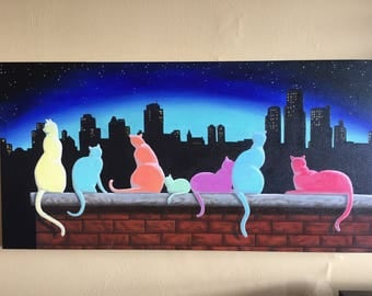 Surreal, abstract of cats. Original, hand painted artwork. Silhouette Alley Cats