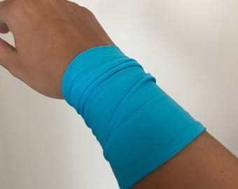 Wrist cuff bracelet, Arm Band, blue fabric cuff bracelet, wrist cover, Tattoo cover up, fabric bracelet