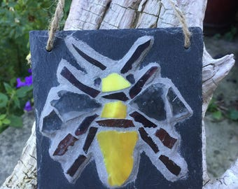 Bee mosaic on slate.Rustic art decor for outdoors or indoors. Manchester bee.