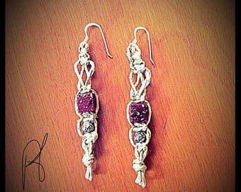 Hemp and beaded dangle earrings