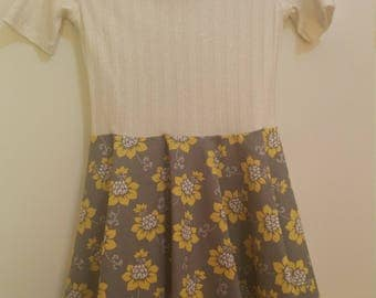 Size 8 Shimmery Gold Dress with Yellow/Grey Skirt