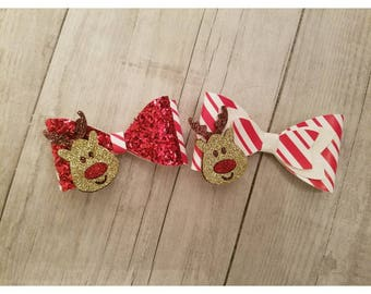 Reindeer Bows//bows//girl bows//christmas bows