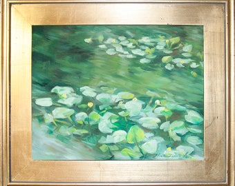 Lily Pads On Pond Original Oil Painting