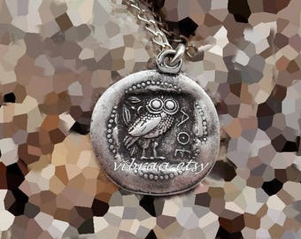 Greek Owl & Goddess Athena Ancient Reversible Coin Necklace Pendant