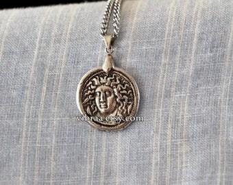 Goddess Artemis as Medusa Reversible Ancient Coin Necklace Pendant