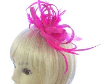 Pink twisted sinamay hair fascinator headband, Weddings, Special Events