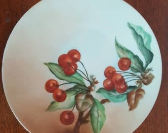 Hermann Ohme Silesia Handpainted Porcelain Cherry Plate from Early 1900s reduced price