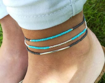 Turquoise Anklet, Silver Beaded Anklet, Stretch Anklet, Ankle Bracelet, Blue Anklet, Boho Anklet, Body Jewellery, Anklet, Beach Anklet, Gift