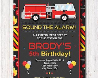 Firetruck Birthday Invitation, Firetruck Invite, Fire truck Birthday,Firetruck party,  printable
