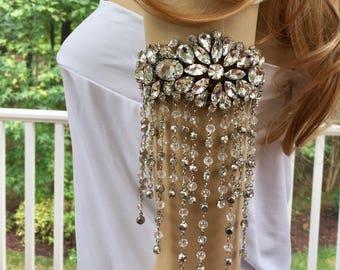 Crystal Cuff Bracelet, Crystal Cuff Jewelry, Cuff Wedding Bracelet, Cuff Bridal Bracelet, Silver Boho Bracelet, Silver Boho Jewelry
