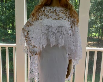 Wedding Wrap Shawl, Wedding Bridal Shawl, White Wedding Shawl, White Wedding Jacket, Crochet Lace Shawl, Bridal Wrap Shawl