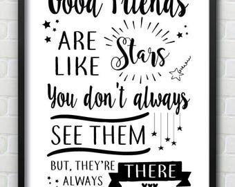 Good Friends Wall Print Gift, Friendship, Best Friends