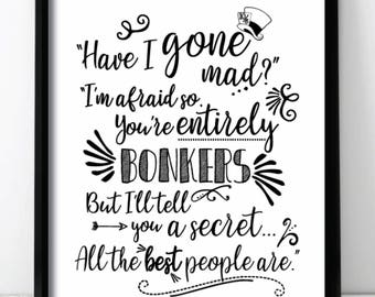 Alice In Wonderland 'Bonkers' Wall Print