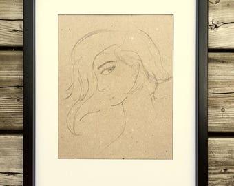 Drawing mysterious Girl, black frame, decor, pencil drawing, original poster art