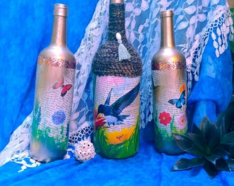 Hummingbird and Butterfly's Painted Wine Bottles