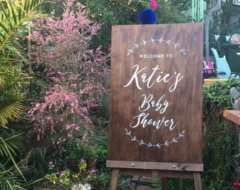 Custom Wooden Baby Shower Welcome Sign